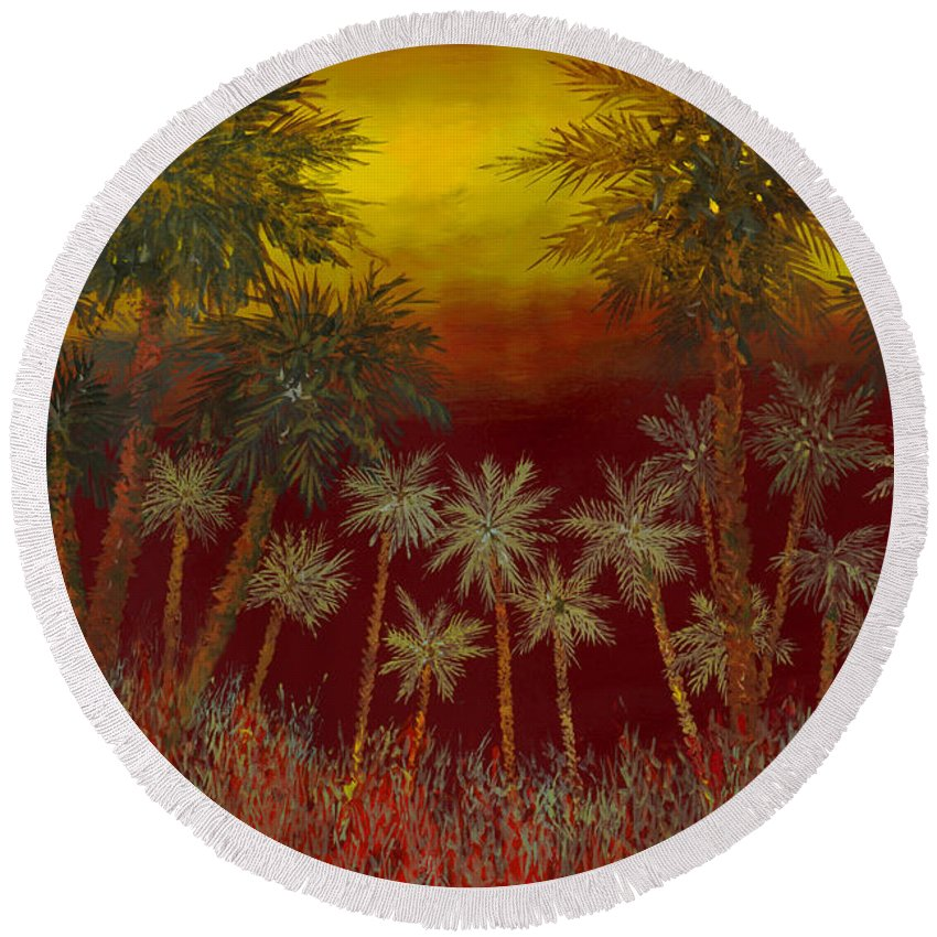 Jungle Round Beach Towel featuring the painting La Jungla Rossa by Guido Borelli