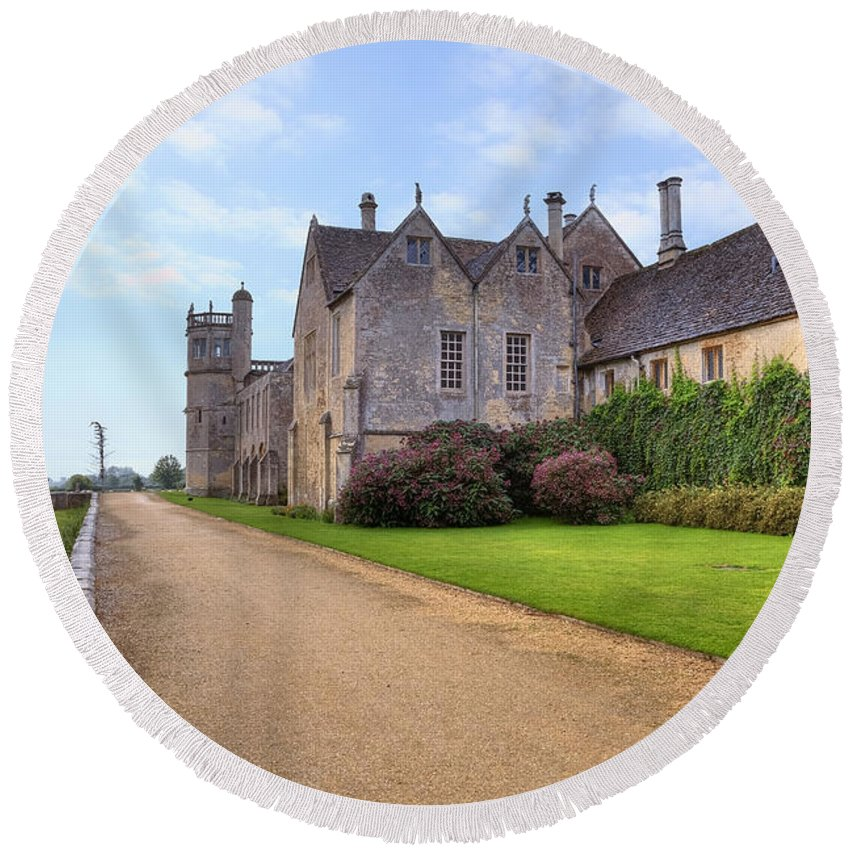 Lacock Abbey Round Beach Towel featuring the photograph Lacock Abbey by Joana Kruse