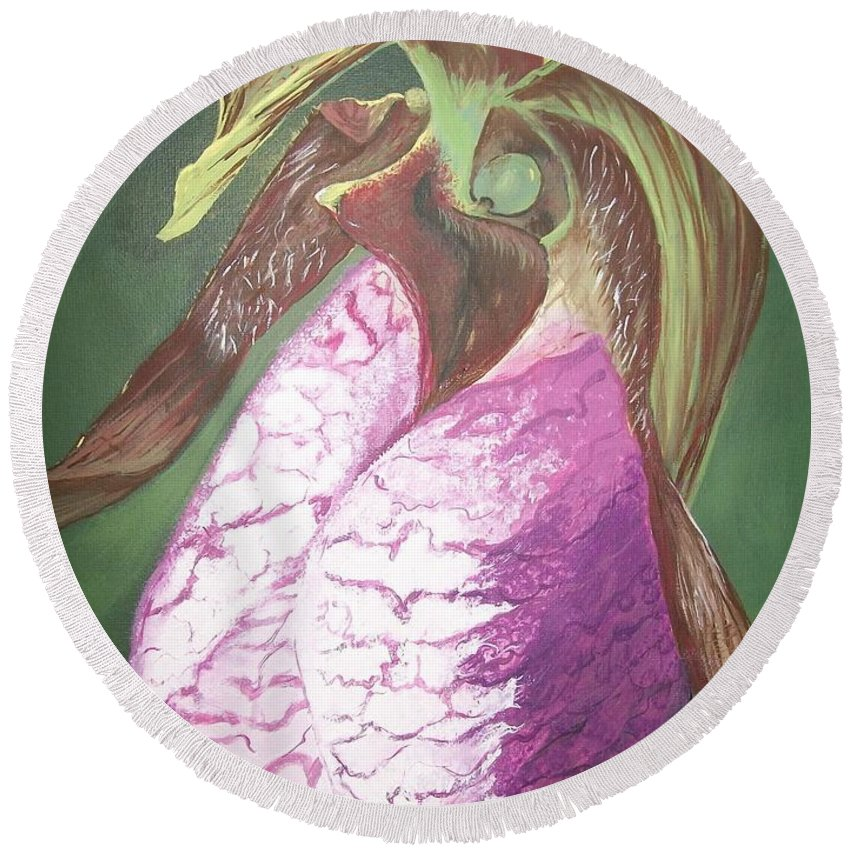 Canadian  Round Beach Towel featuring the painting Lady Slipper Orchid by Sharon Duguay