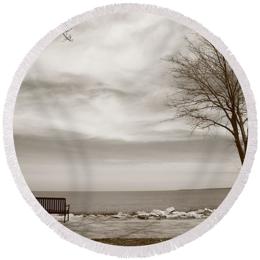 Art Round Beach Towel featuring the photograph Lake And Park Bench by Frank Romeo