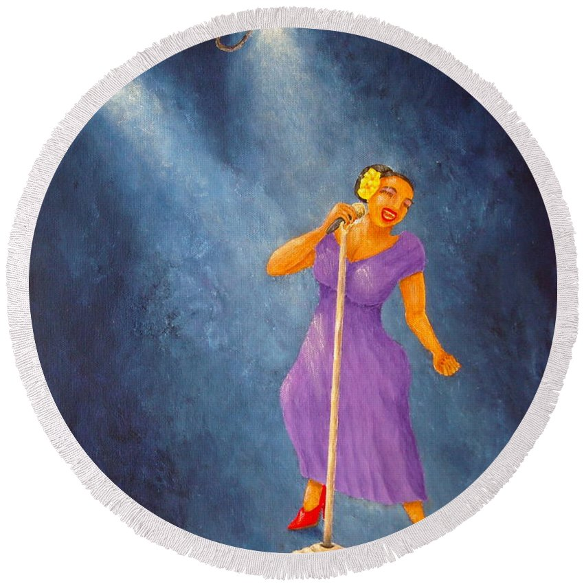 Pamela Allegretto Round Beach Towel featuring the painting Latina Jazz Diva by Pamela Allegretto