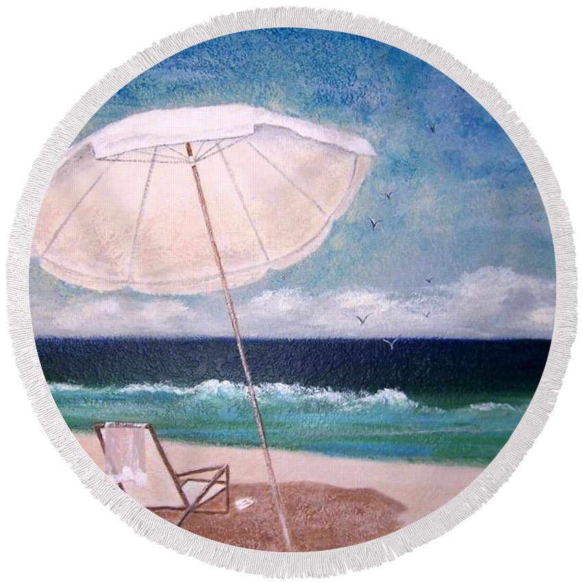 Beach Round Beach Towel featuring the painting Lazy Day by Jamie Frier