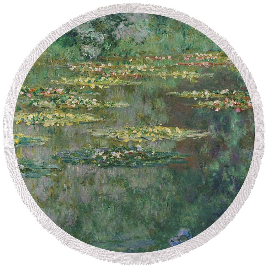 Painting Round Beach Towel featuring the painting Le Bassin Des Nympheas by Mountain Dreams