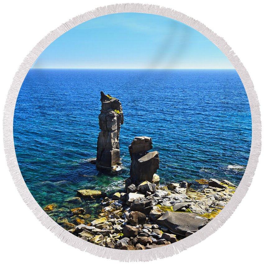 Colonne Round Beach Towel featuring the photograph Le Colonne - San Pietro Island by Antonio Scarpi