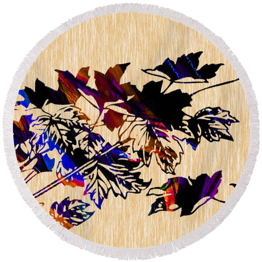 Fall Photographs Round Beach Towel featuring the mixed media Leaves by Marvin Blaine