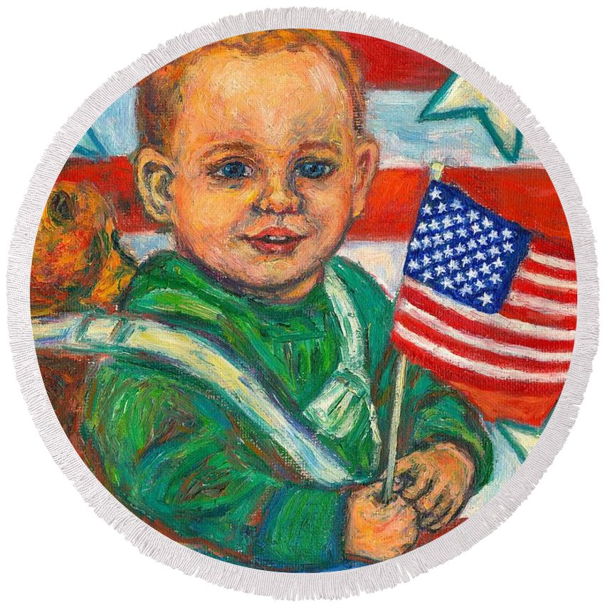 Flag Round Beach Towel featuring the painting Liberty by Kendall Kessler
