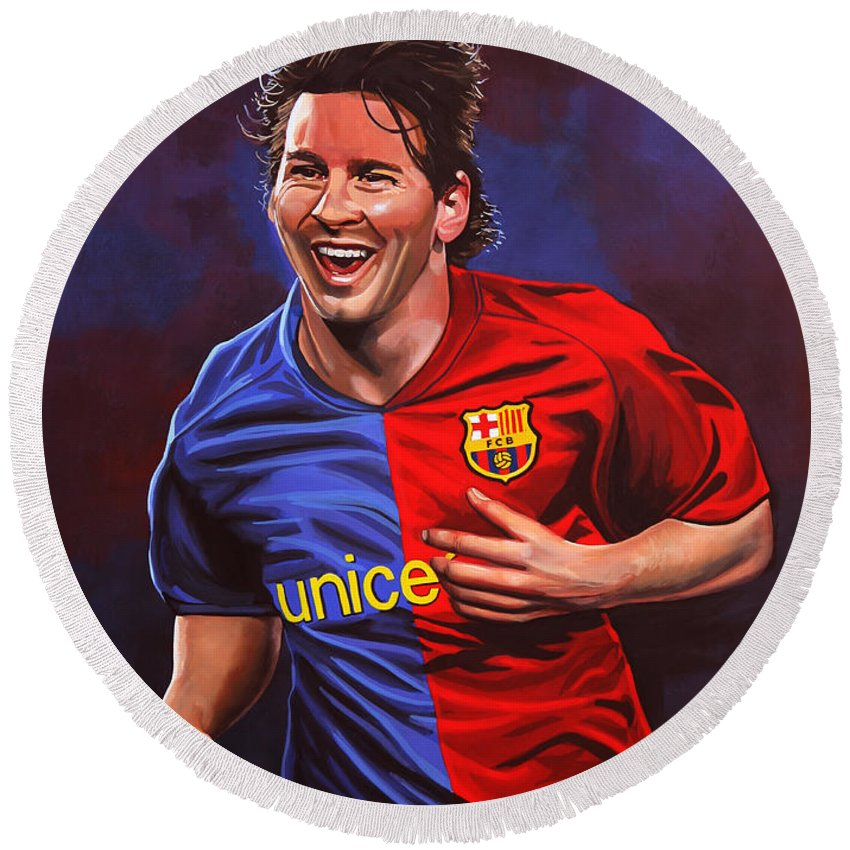 Lionel Messi Round Beach Towel featuring the painting Lionel Messi by Paul Meijering