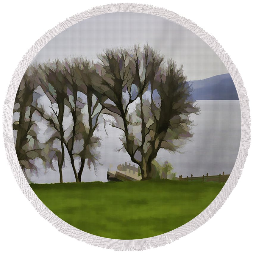 Boat Jetty Round Beach Towel featuring the digital art Loch Ness And Boat Jetty Next To Urquhart Castle by Ashish Agarwal