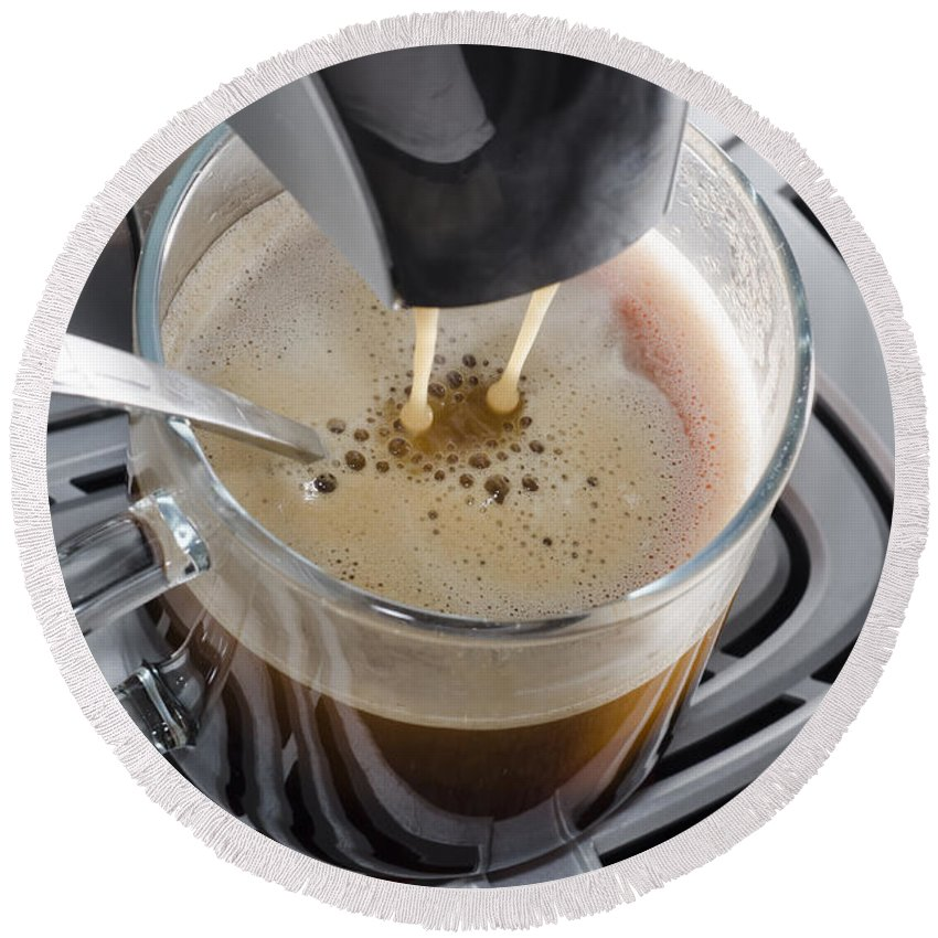 Coffee Machine Round Beach Towel featuring the photograph Making A Coffee by Mats Silvan