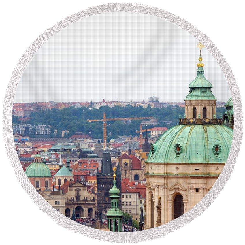 Architecture Round Beach Towel featuring the photograph Mala Strana In Prague by Michal Bednarek