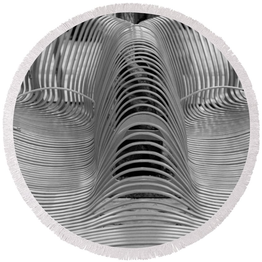 Abstract Round Beach Towel featuring the photograph Metal Strips In Black And White by Rob Hans