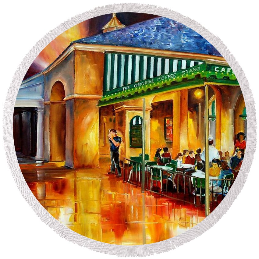New Orleans Round Beach Towel featuring the painting Midnight At The Cafe Du Monde by Diane Millsap