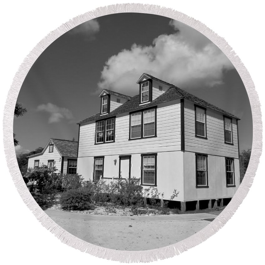 Black And White Round Beach Towel featuring the photograph Mission House by Amar Sheow