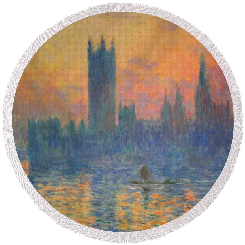 The Houses Of Parliament Round Beach Towel featuring the photograph Monet's The Houses Of Parliament At Sunset by Cora Wandel