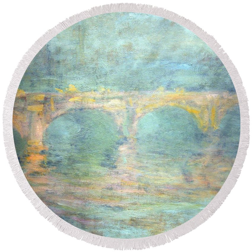 Waterloo Bridge Round Beach Towel featuring the photograph Monet's Waterloo Bridge In London At Sunset by Cora Wandel