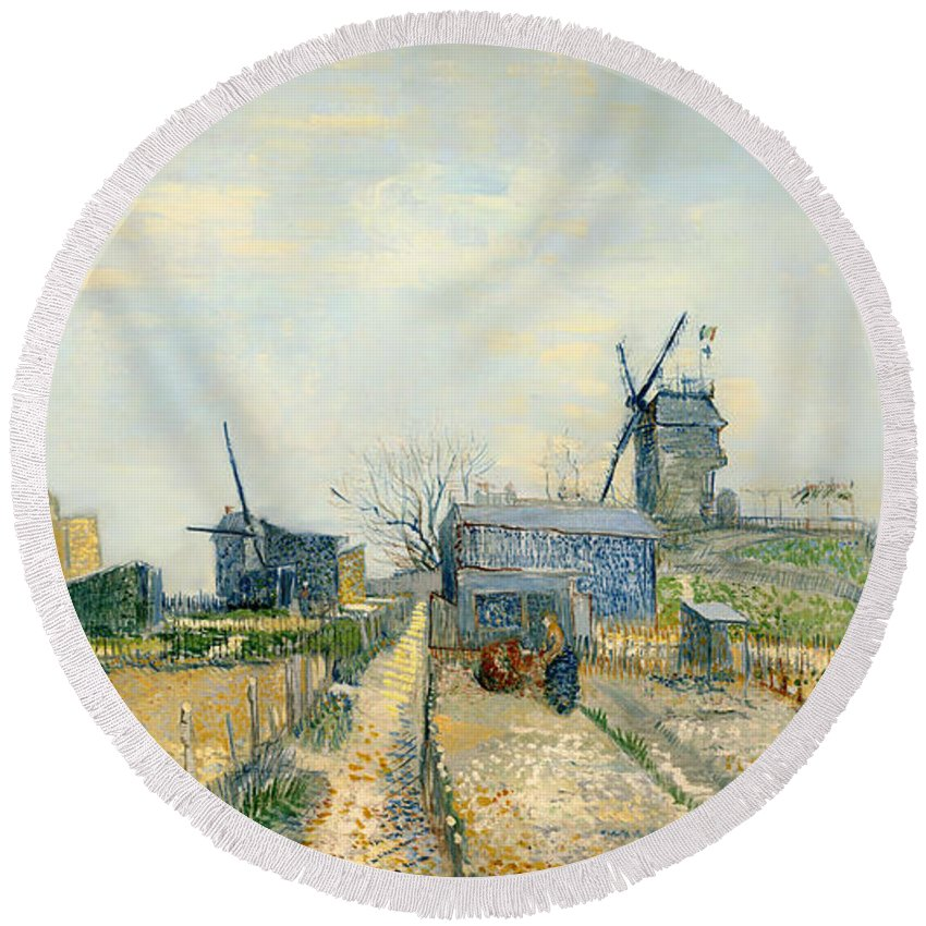 Painting Round Beach Towel featuring the painting Montmartre Mills And Vegetable Gardens by Mountain Dreams