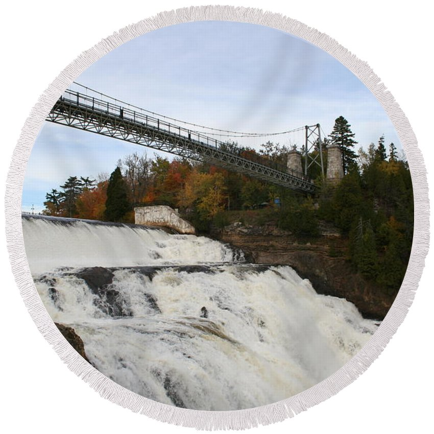 Waterfall Round Beach Towel featuring the photograph Montmorency Waterfall Canada by Christiane Schulze Art And Photography