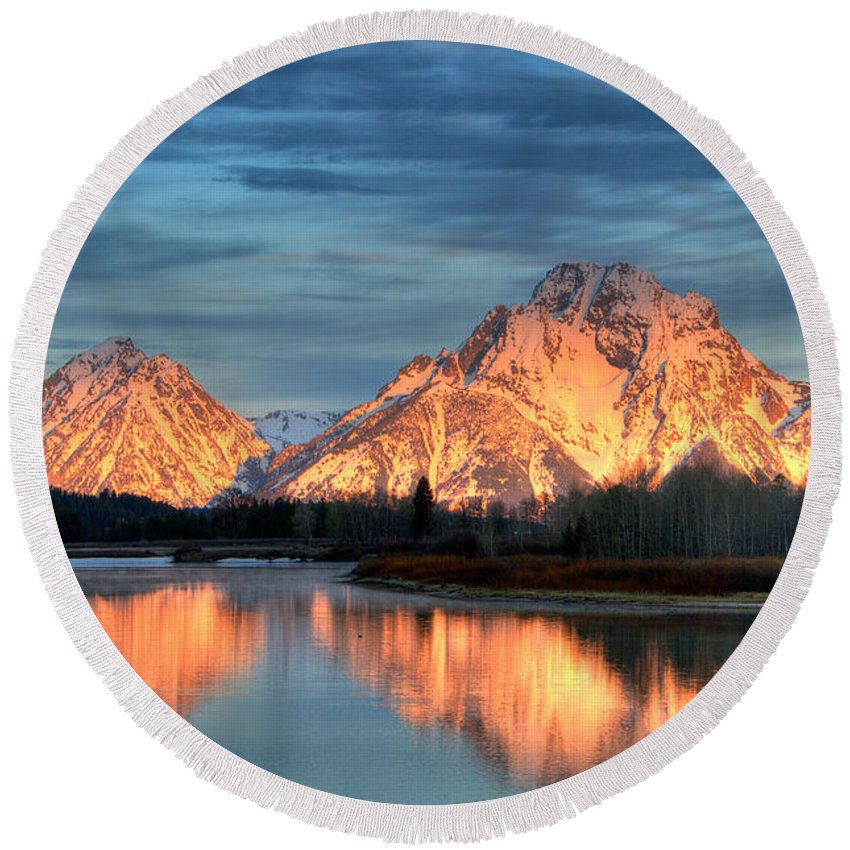 Mount Moran Round Beach Towel featuring the photograph Mount Moran by Steve Stuller