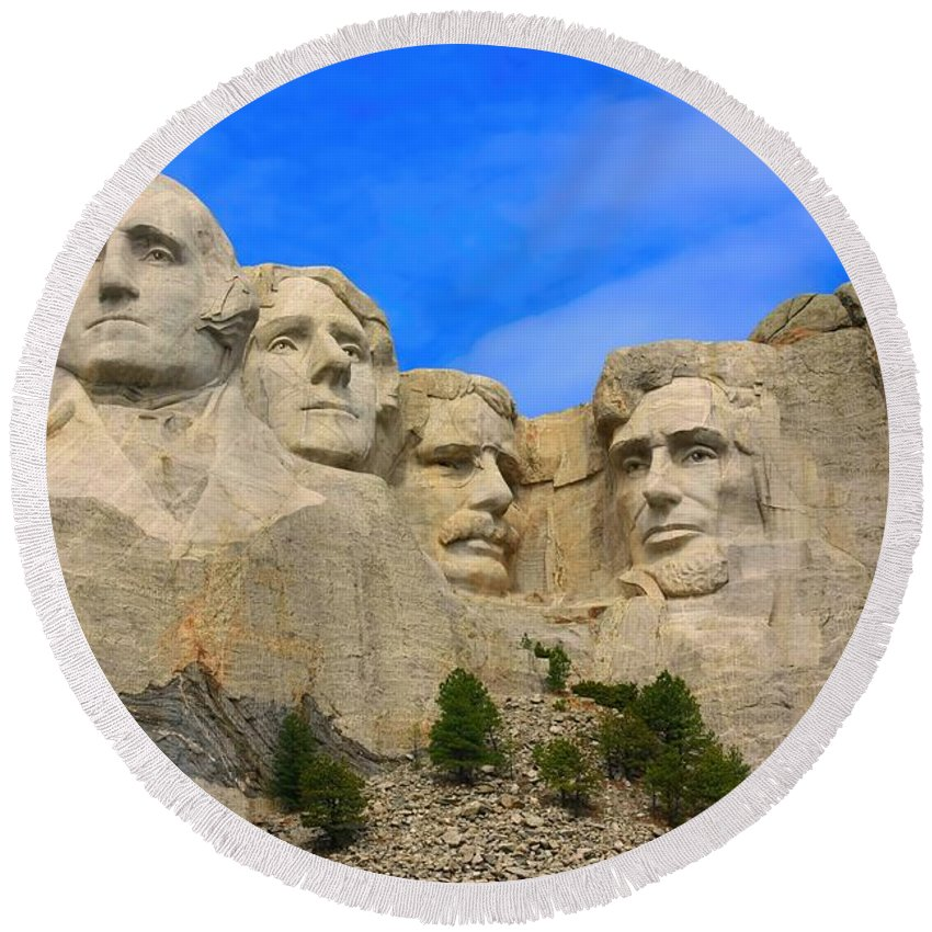 Mount Rushmore Round Beach Towel featuring the photograph Mount Rushmore South Dakota by Amanda Stadther