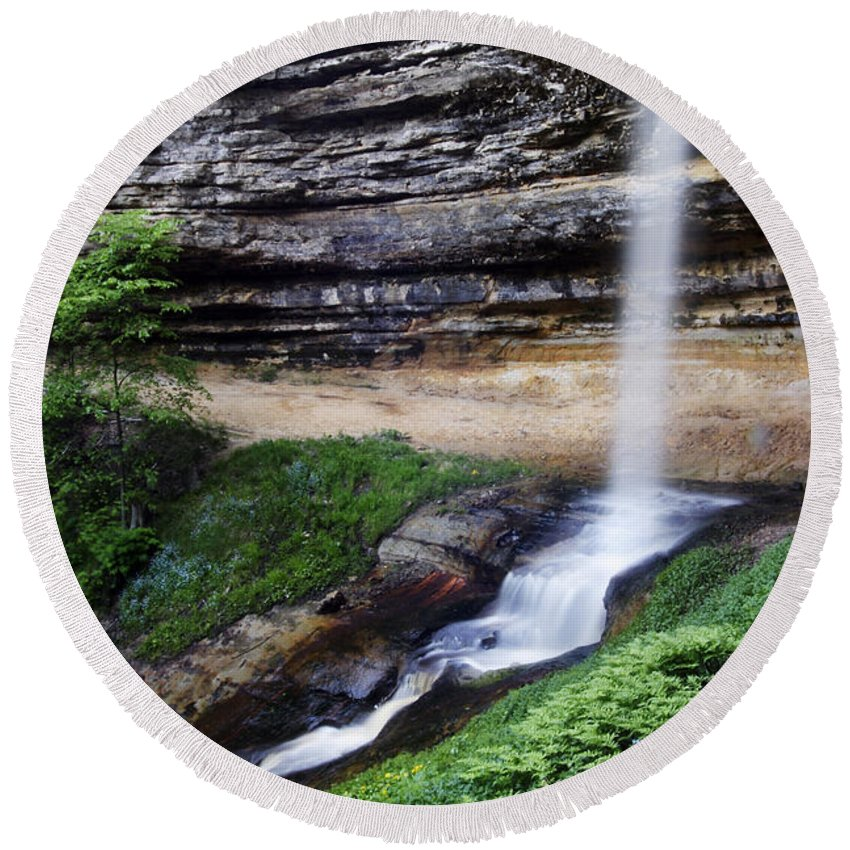 3scape Round Beach Towel featuring the photograph Munising Falls by Adam Romanowicz