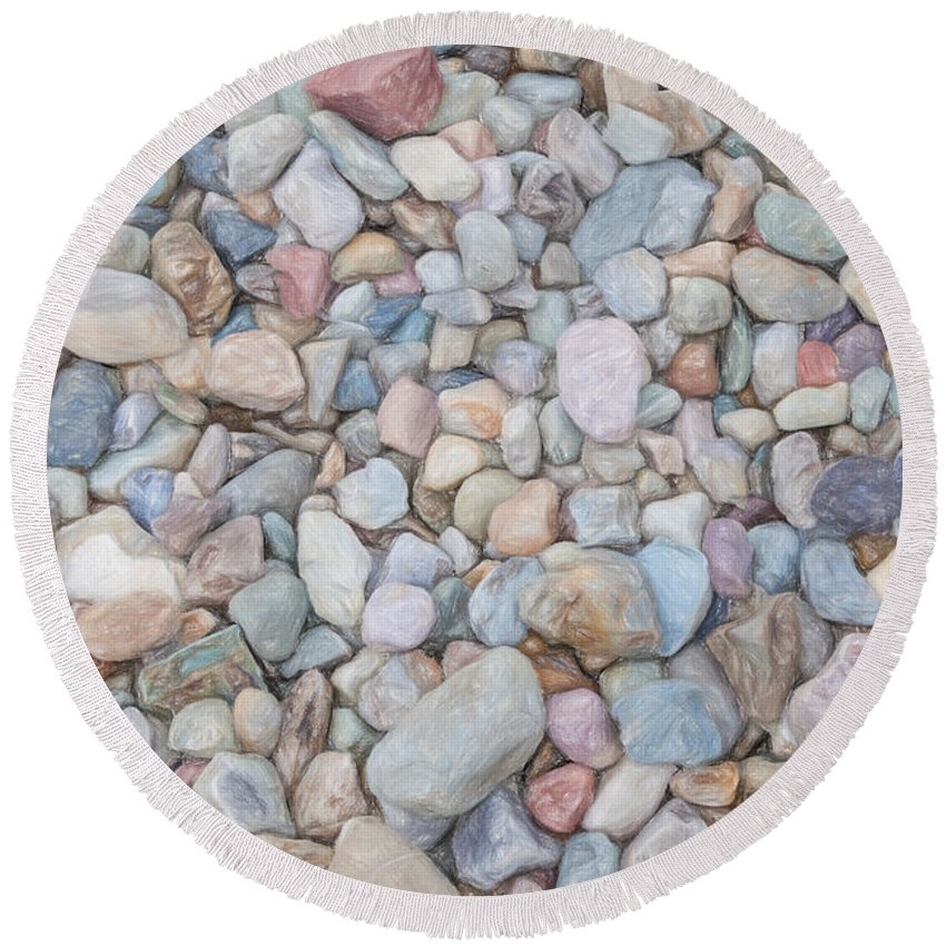 Close-up Round Beach Towel featuring the painting Natural Rock Pebble Backgorund by Shaun Wilkinson