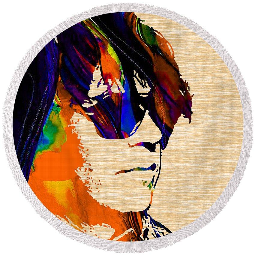 Neil Young Round Beach Towel featuring the mixed media Neil Young Collection by Marvin Blaine