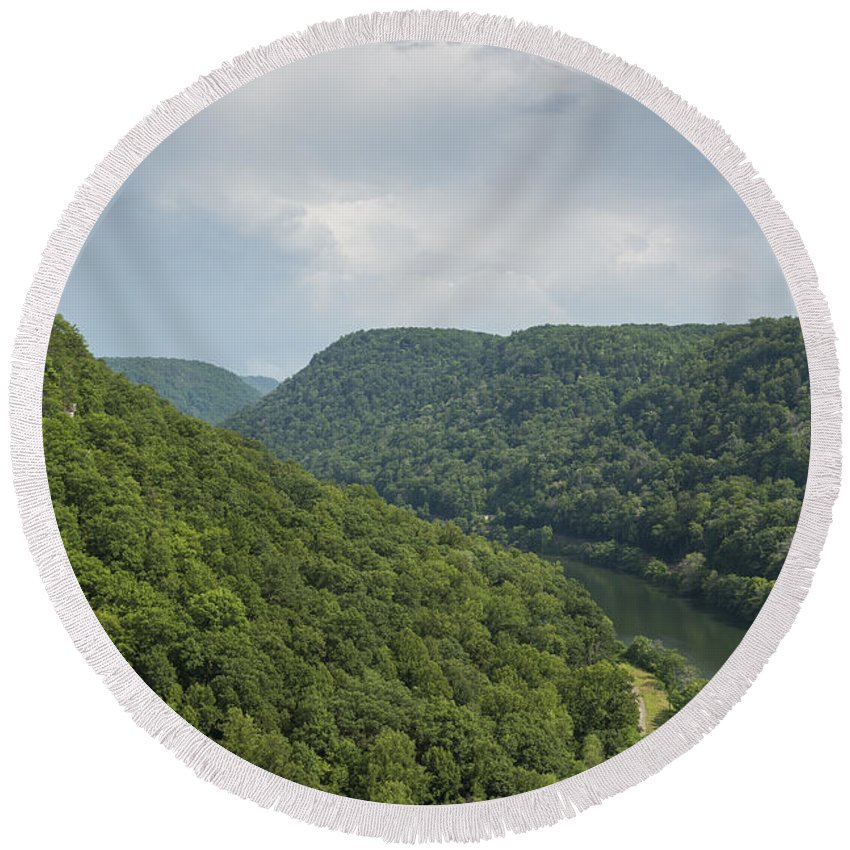 New Round Beach Towel featuring the photograph New River Scene 13 B by John Brueske