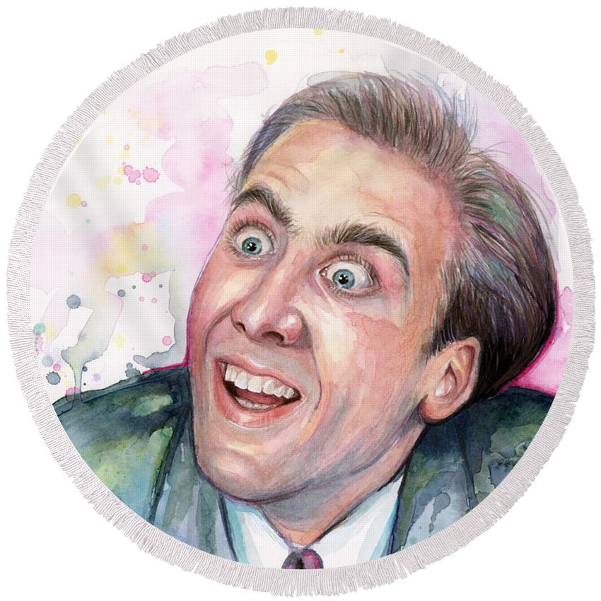 Nic Cage Round Beach Towel featuring the painting Nicolas Cage You Don't Say Watercolor Portrait by Olga Shvartsur