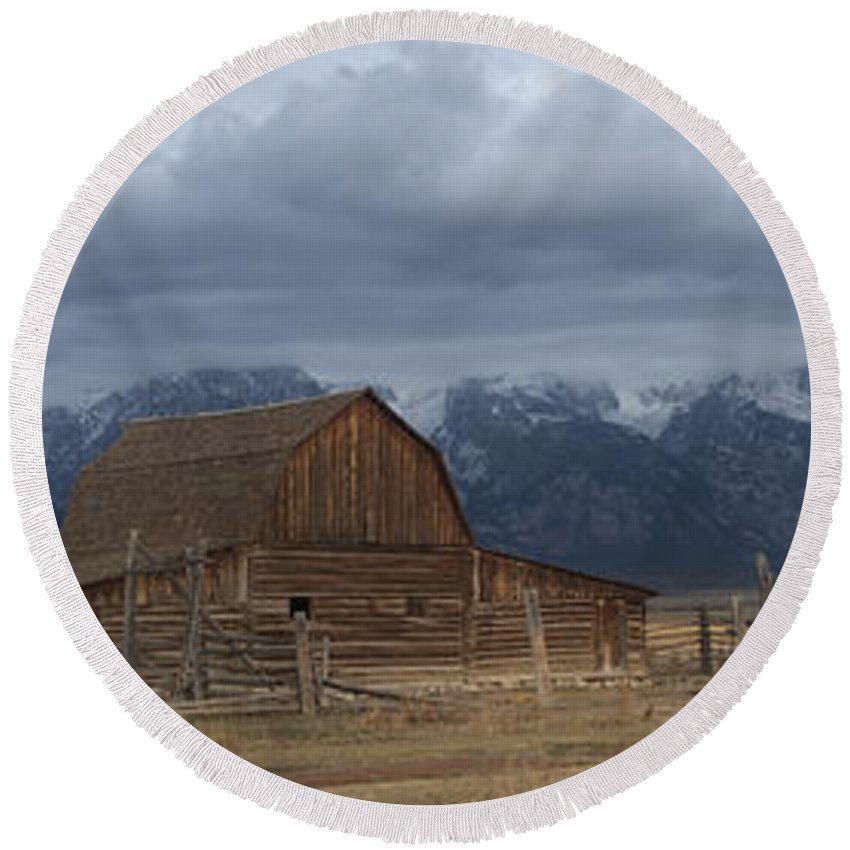 Late Snow Round Beach Towel featuring the photograph North Moulton Barn Grand Tetons by Gary Langley