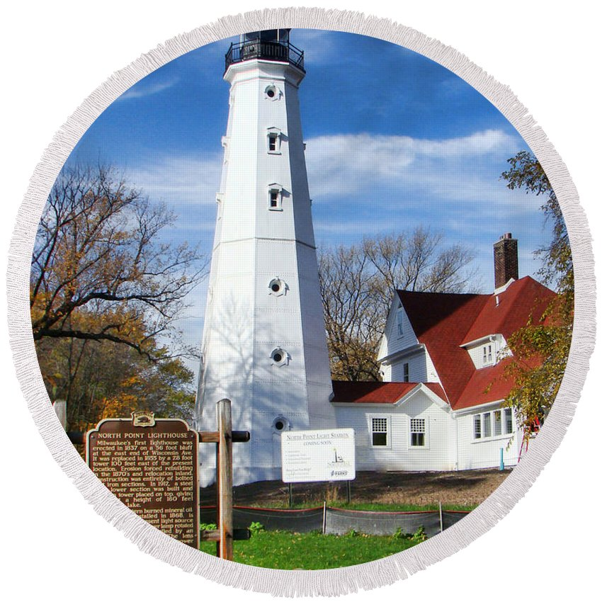 North Point Lighthouse Round Beach Towel featuring the photograph North Point Lighthouse by Phyllis Taylor