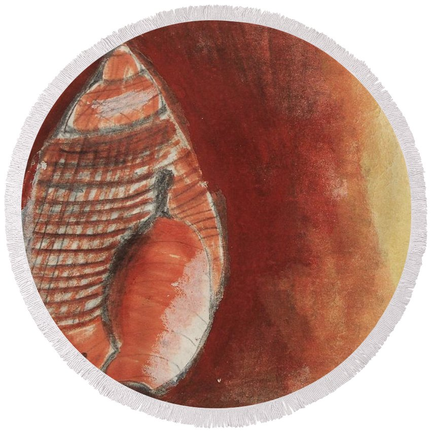 Shell Round Beach Towel featuring the painting Ocean Shell by Eric Schiabor