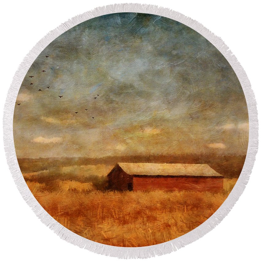 Barn Round Beach Towel featuring the photograph October Afternoon by Lois Bryan