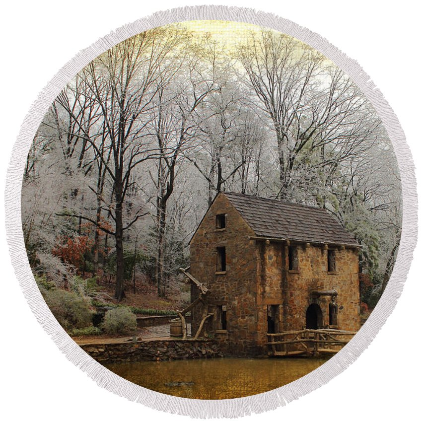 Mill Round Beach Towel featuring the photograph Old Mill by Karen Beasley