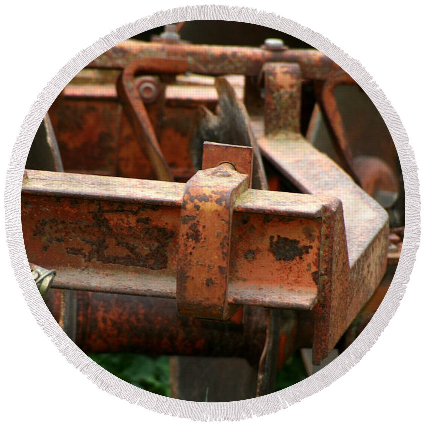 Tractor Round Beach Towel featuring the photograph Old Mowing Machine by Doc Braham
