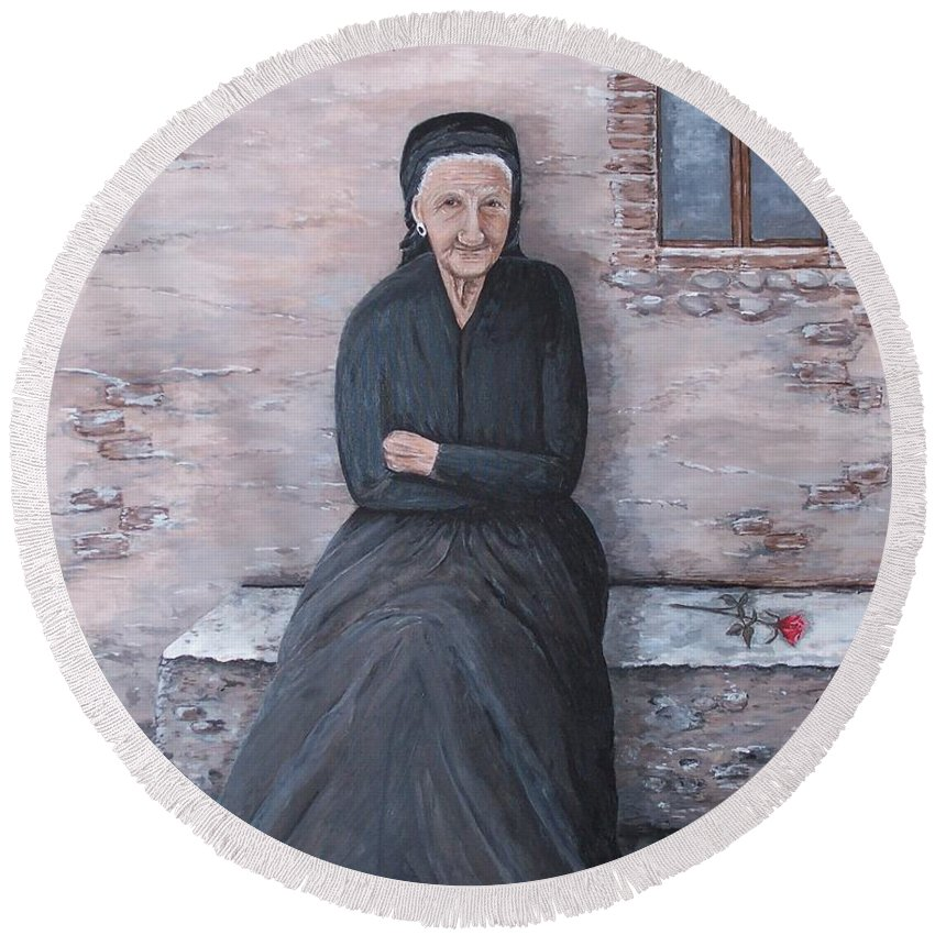 Old Lady Round Beach Towel featuring the painting Old Woman Waiting by Judy Kirouac