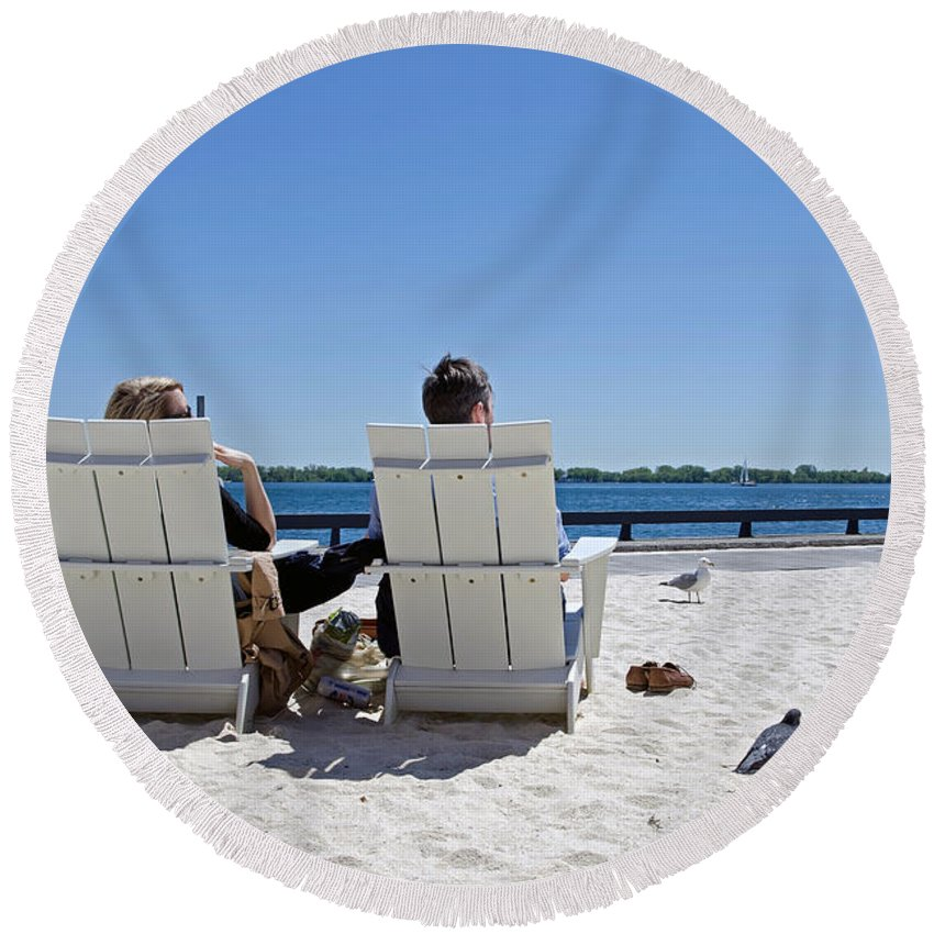 Shepherds Hook Round Beach Towel featuring the photograph On The Waterfront by Keith Armstrong