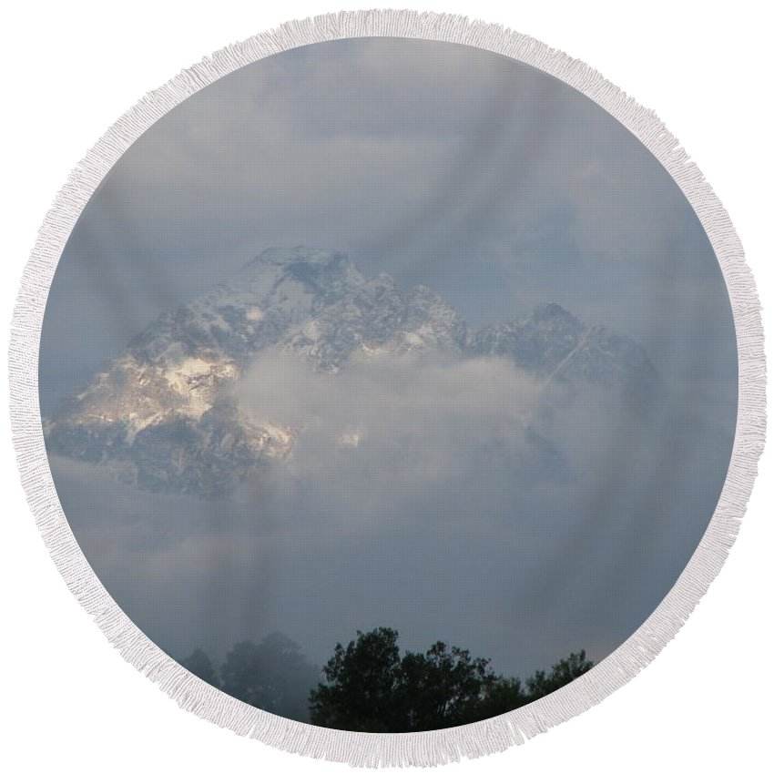Rocky Mountains Round Beach Towel featuring the photograph Out Of The Clouds by Greg Patzer