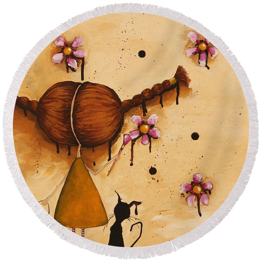Whimsical Round Beach Towel featuring the painting Painting Flowers by Lucia Stewart