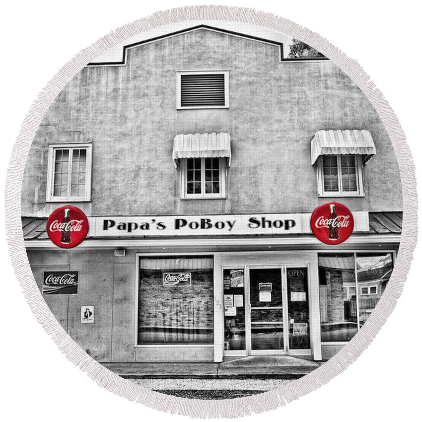 Napoleonville Round Beach Towel featuring the photograph Papa's Poboy Shop by Scott Pellegrin