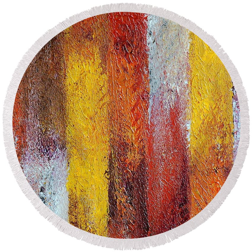 Abstract Round Beach Towel featuring the painting Passage by Teresa Wegrzyn