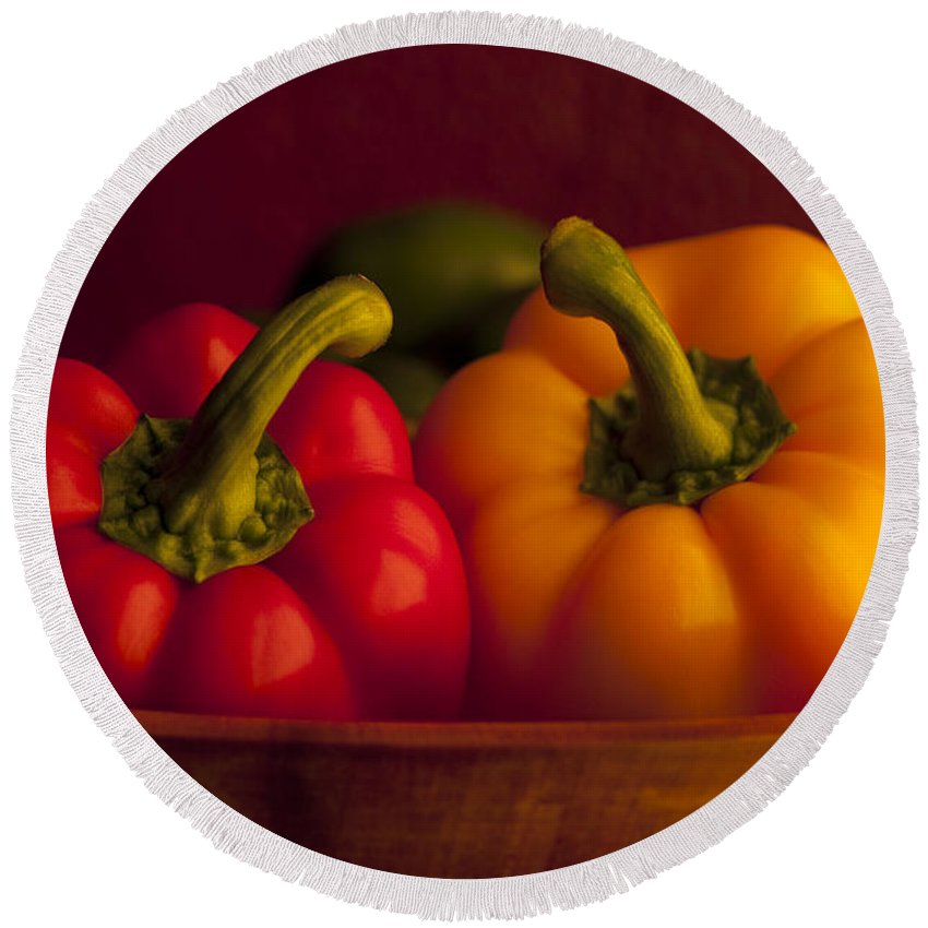 Arrangement Round Beach Towel featuring the photograph Peppers Still Life Close-up by Jim Corwin