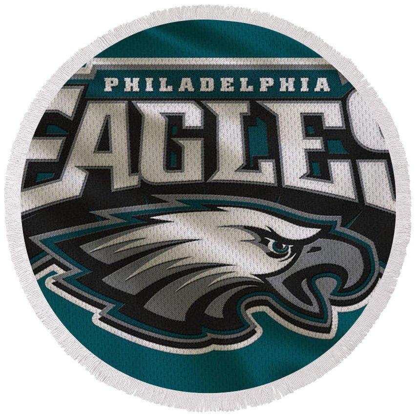 Eagles Round Beach Towel featuring the photograph Philadelphia Eagles Uniform by Joe Hamilton