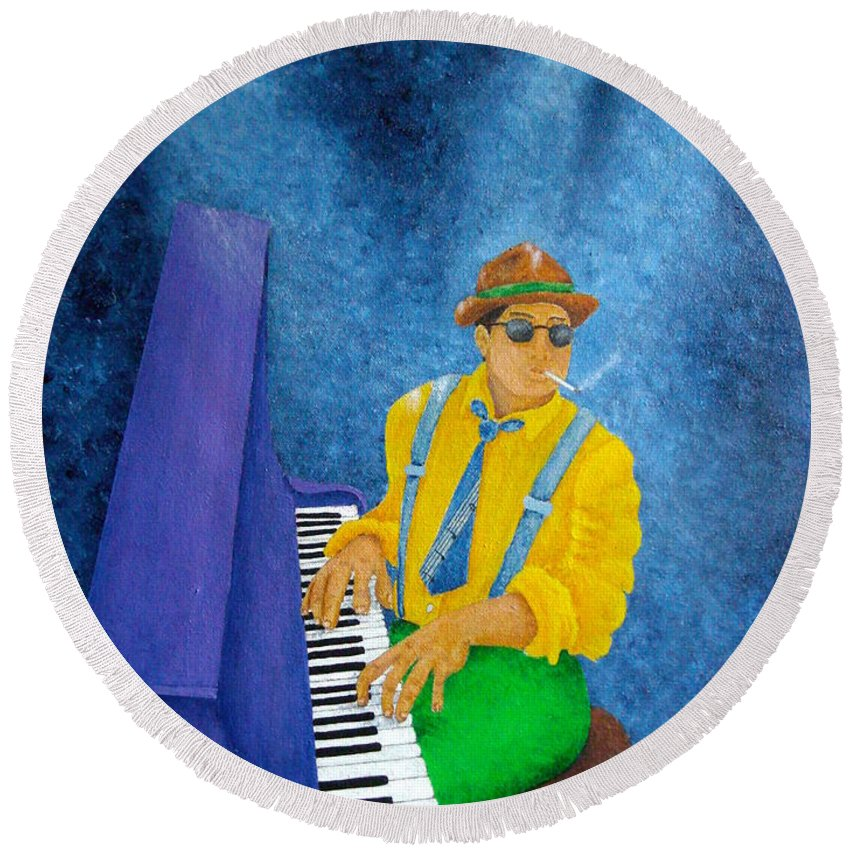 Pamela Allegretto Round Beach Towel featuring the painting Piano Man by Pamela Allegretto