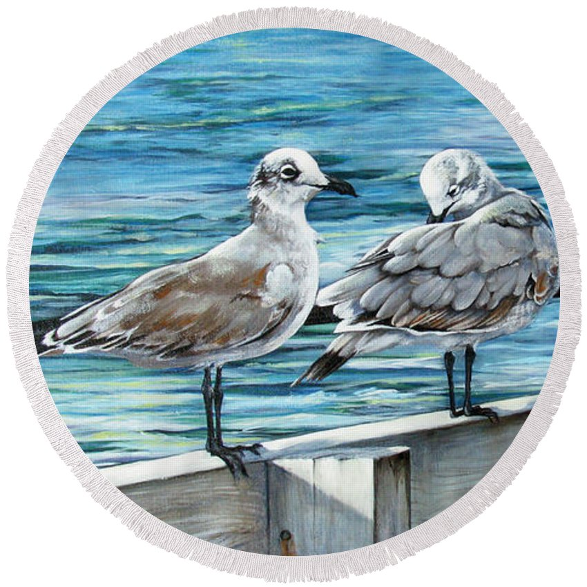 Seagulls Round Beach Towel featuring the painting Pier Gulls by Joan Garcia