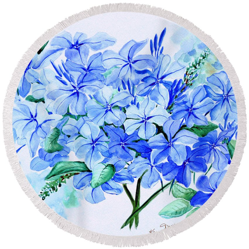 Blue Plumbago Round Beach Towel featuring the painting Plumbago by Karin Dawn Kelshall- Best