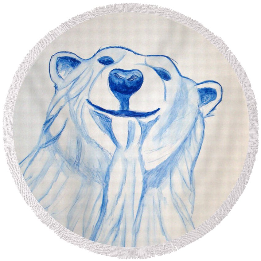 Rick Huotari Round Beach Towel featuring the painting Polar Bear by Rick Huotari