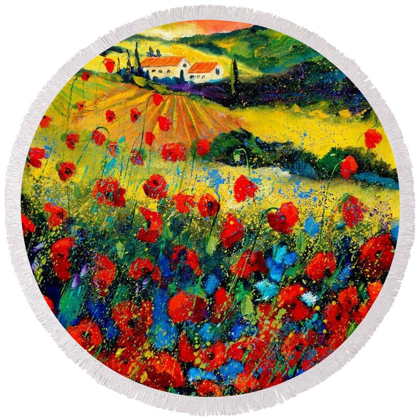 Flowersn Landscape Round Beach Towel featuring the painting Poppies in Tuscany by Pol Ledent