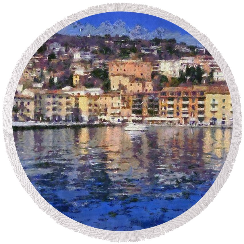 Porto Stefano Round Beach Towel featuring the painting Porto Stefano In Italy by George Atsametakis