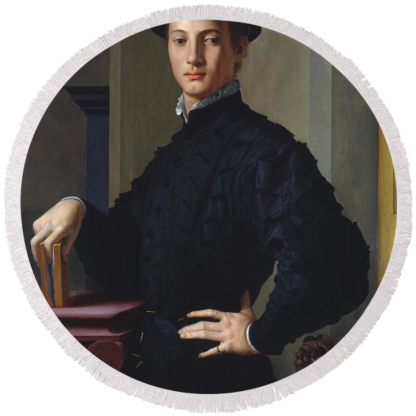 1530 Round Beach Towel featuring the painting Portrait Of A Young Man by Agnolo Bronzino