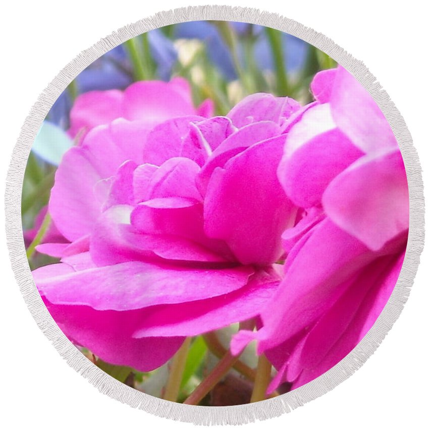 Flower Round Beach Towel featuring the photograph Pretty Pink Flower by Line Gagne